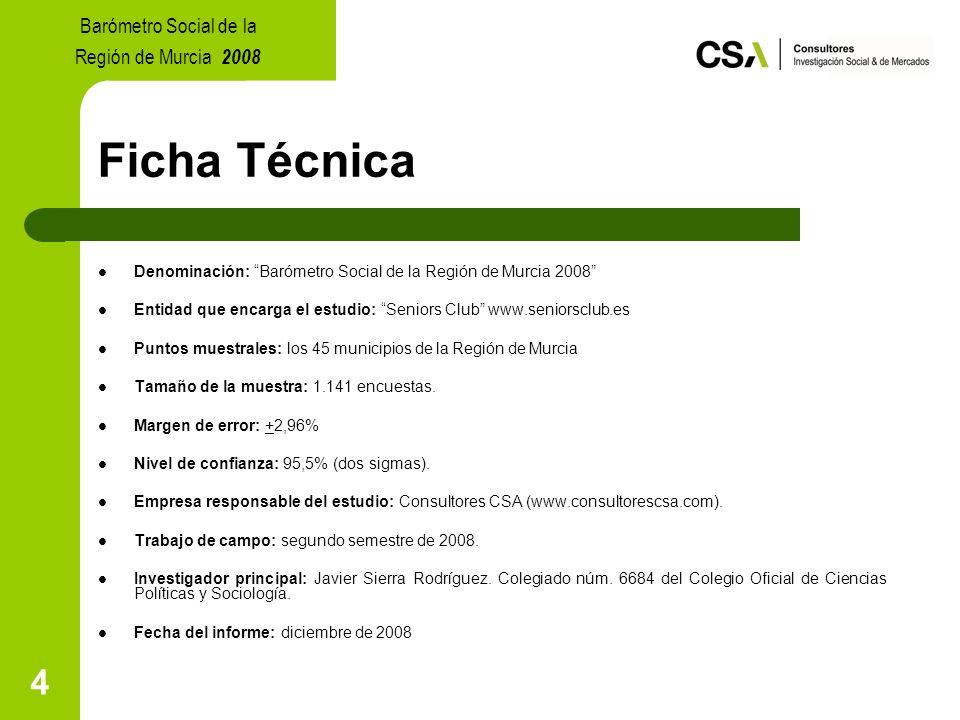 4 Ficha Técnica Denominación: Barómetro Social de la Región de Murcia 2008 Entidad que encarga el estudio: Seniors Club www.seniorsclub.es Puntos muestrales: los 45 municipios de la Región de Murcia Tamaño de la muestra: 1.141 encuestas.