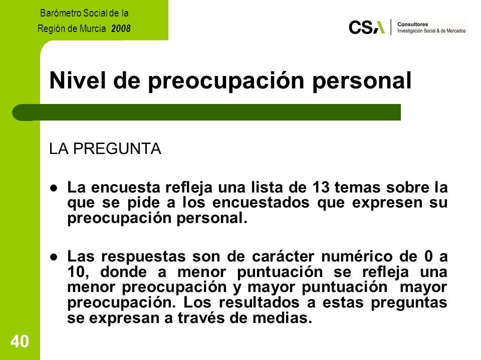 40 Nivel de preocupación personal LA PREGUNTA La encuesta refleja una lista de 13 temas sobre la que se pide a los encuestados que expresen su preocupación personal.