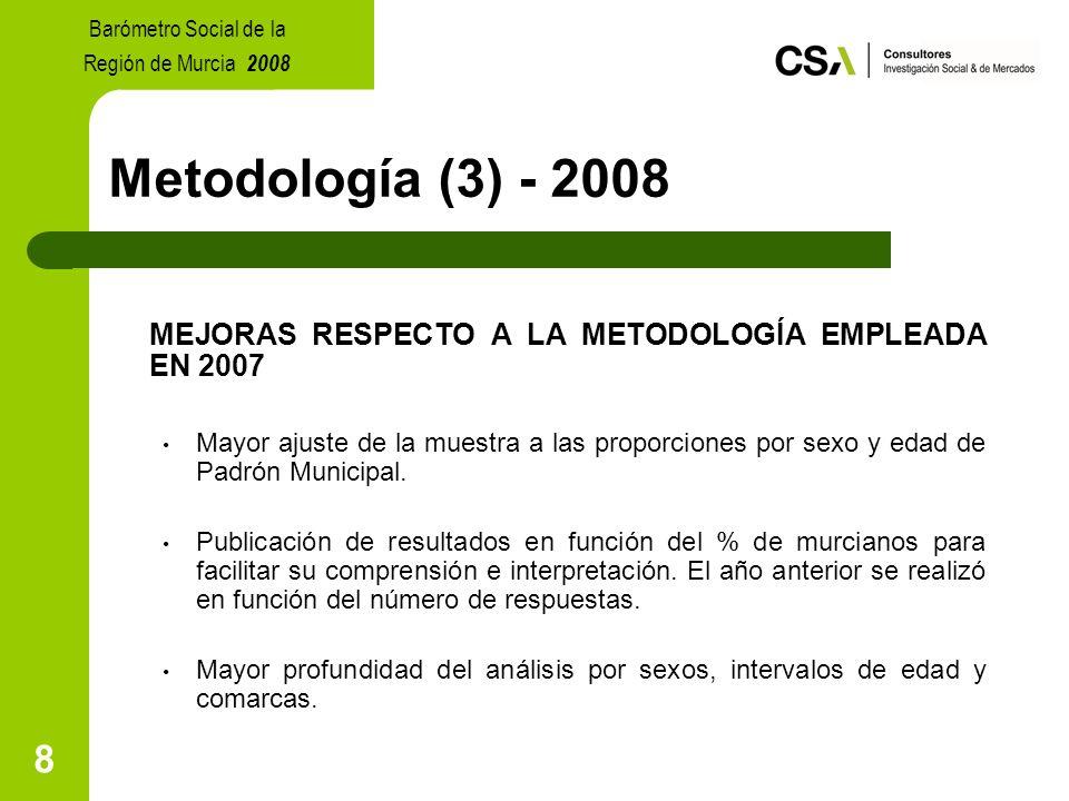 8 Metodología (3) - 2008 MEJORAS RESPECTO A LA METODOLOGÍA EMPLEADA EN 2007 Mayor ajuste de la muestra a las proporciones por sexo y edad de Padrón Municipal.