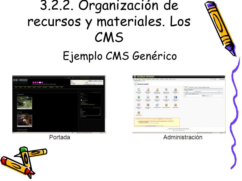 3.2.2. Organización de recursos y materiales. Los CMS Ejemplo CMS Genérico PortadaAdministración