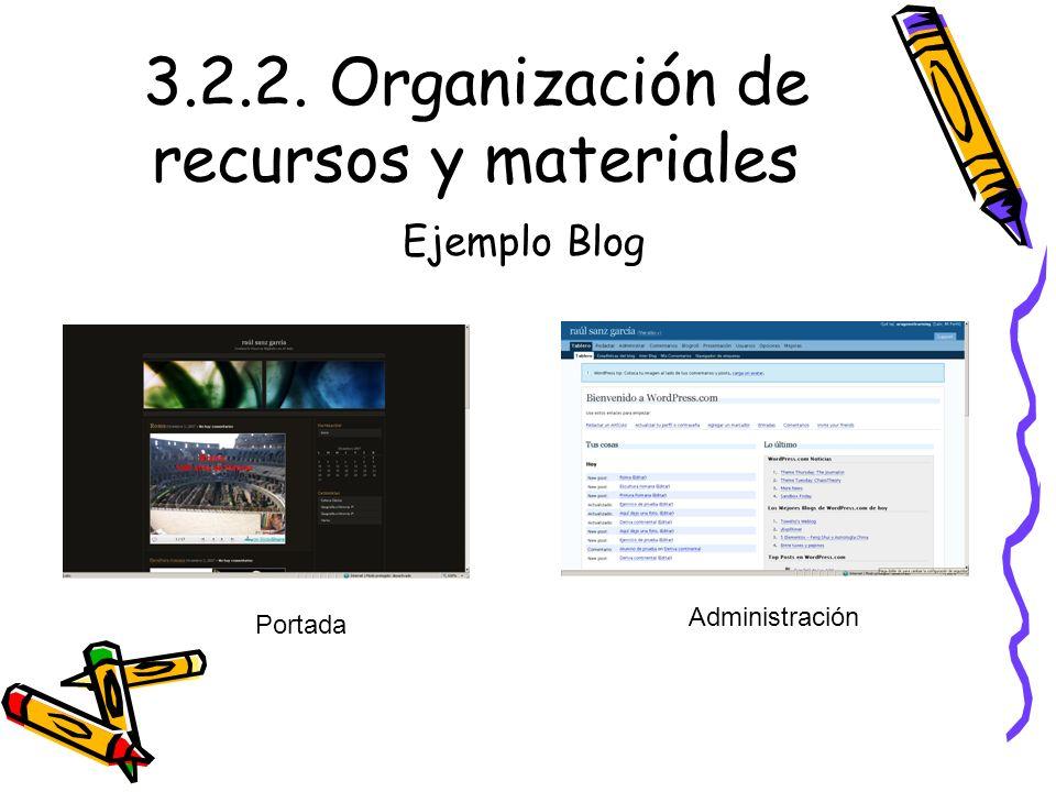 3.2.2. Organización de recursos y materiales Ejemplo Blog Portada Administración