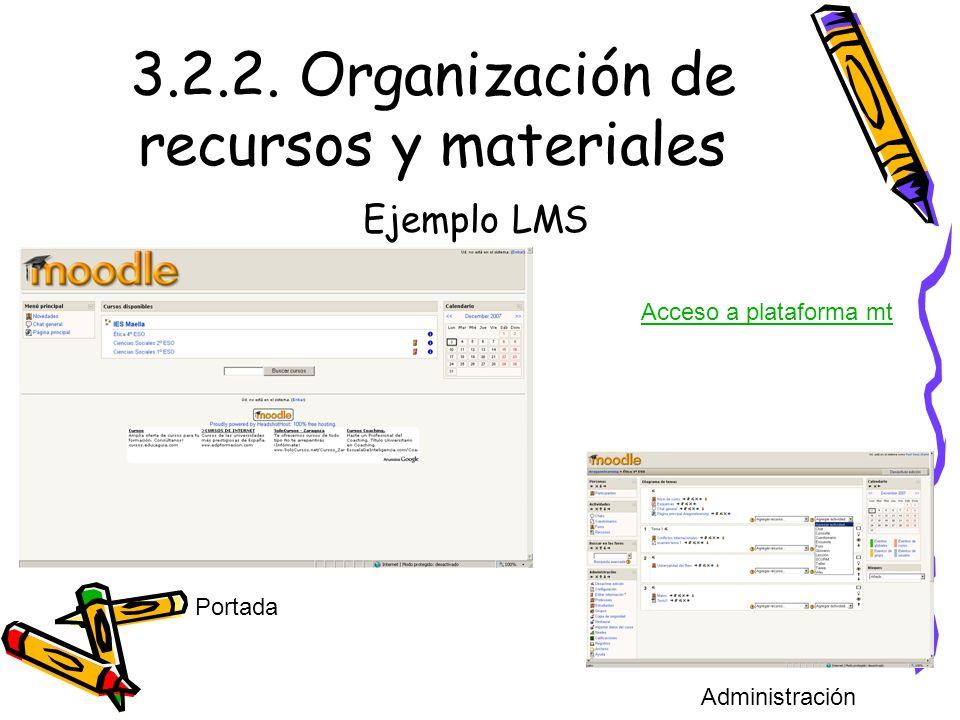 3.2.2. Organización de recursos y materiales Ejemplo LMS Portada Acceso a plataforma mt Administración