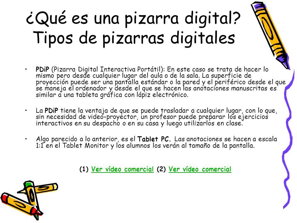 ¿Qué es una pizarra digital? Tipos de pizarras digitales PDiP (Pizarra Digital Interactiva Portátil): En este caso se trata de hacer lo mismo pero des