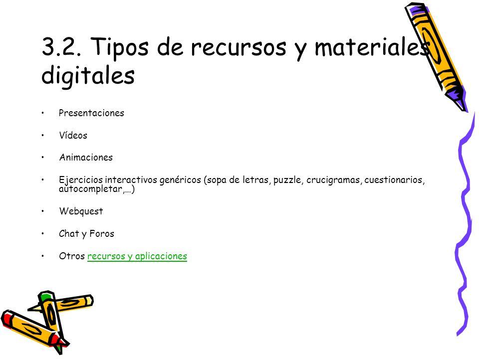 3.2. Tipos de recursos y materiales digitales Presentaciones Vídeos Animaciones Ejercicios interactivos genéricos (sopa de letras, puzzle, crucigramas