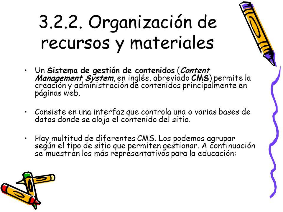 3.2.2. Organización de recursos y materiales Un Sistema de gestión de contenidos (Content Management System, en inglés, abreviado CMS) permite la crea