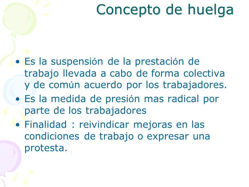Concepto de huelga Es la suspensi ó n de la prestaci ó n de trabajo llevada a cabo de forma colectiva y de com ú n acuerdo por los trabajadores. Es la