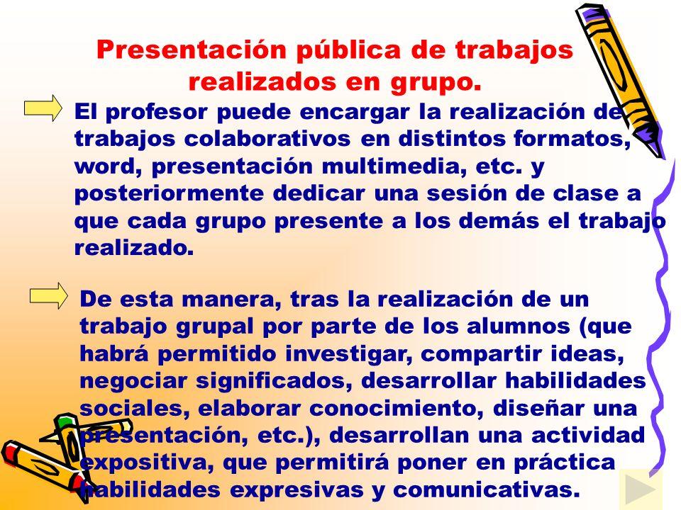 El papel del profesor será escuchar, colaborar y en su caso corregir o completar las explicaciones de los alumnos.