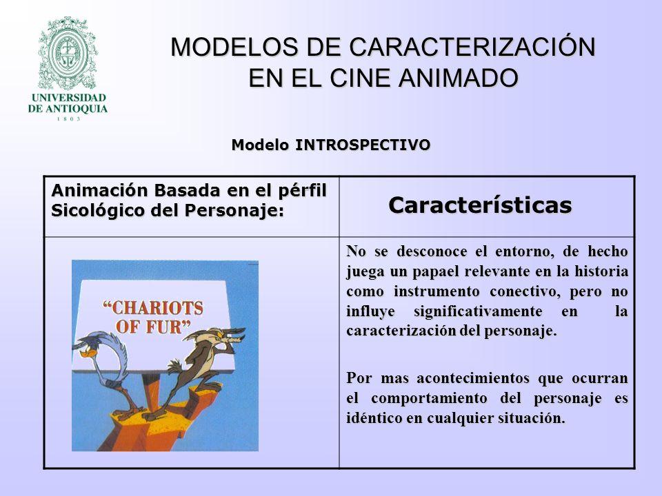 MODELOS DE CARACTERIZACIÓN EN EL CINE ANIMADO Animación Basada en el pérfil Sicológico del Personaje: No se desconoce el entorno, de hecho juega un pa