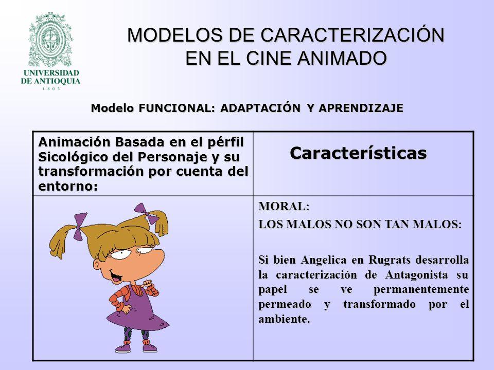 MODELOS DE CARACTERIZACIÓN EN EL CINE ANIMADO Animación Basada en el pérfil Sicológico del Personaje y su transformación por cuenta del entorno: MORAL