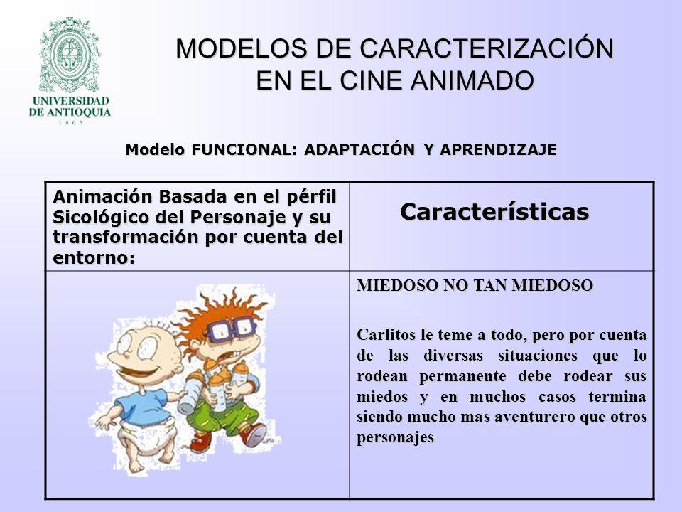 MODELOS DE CARACTERIZACIÓN EN EL CINE ANIMADO PERFIL SICOLÓGICO DEFINIDO DIFICILMENTE ALTERABLE POR EL ENTORNO PERFIL SICOLÓGICO DEFINIDO PERO COMPLETAMENTE MOLDEABLE POR EL ENTORNO ARQUETIPO CONVENCIONAL ARQUETIPO FLEXIBLE Modelo FUNCIONAL VS Modelo INTROSPECTIVO