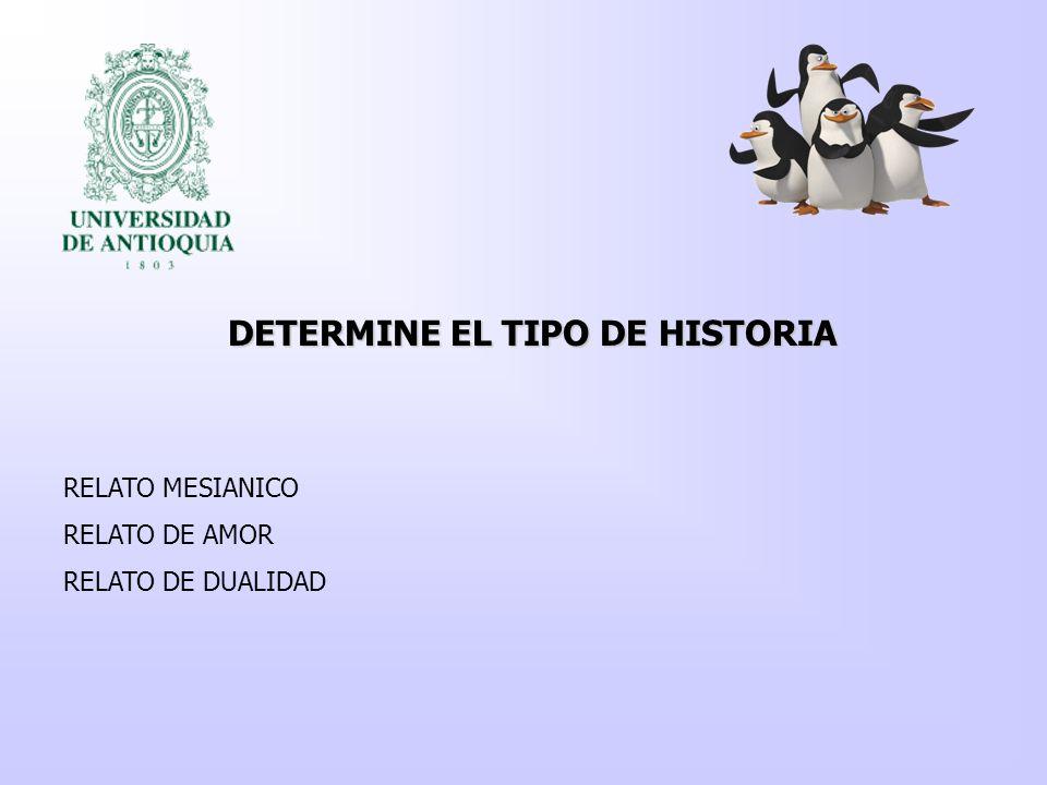 DETERMINE EL TIPO DE HISTORIA RELATO MESIANICO RELATO DE AMOR RELATO DE DUALIDAD