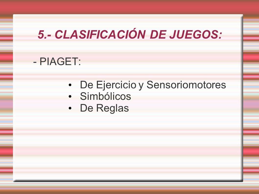 5.- CLASIFICACIÓN DE JUEGOS: - PIAGET: De Ejercicio y Sensoriomotores Simbólicos De Reglas