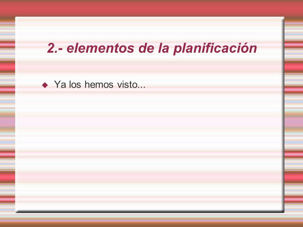 2.- elementos de la planificación Ya los hemos visto...