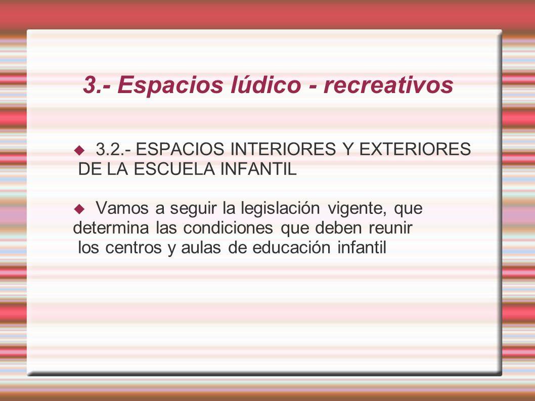3.- Espacios lúdico - recreativos 3.2.- ESPACIOS INTERIORES Y EXTERIORES DE LA ESCUELA INFANTIL Vamos a seguir la legislación vigente, que determina las condiciones que deben reunir los centros y aulas de educación infantil