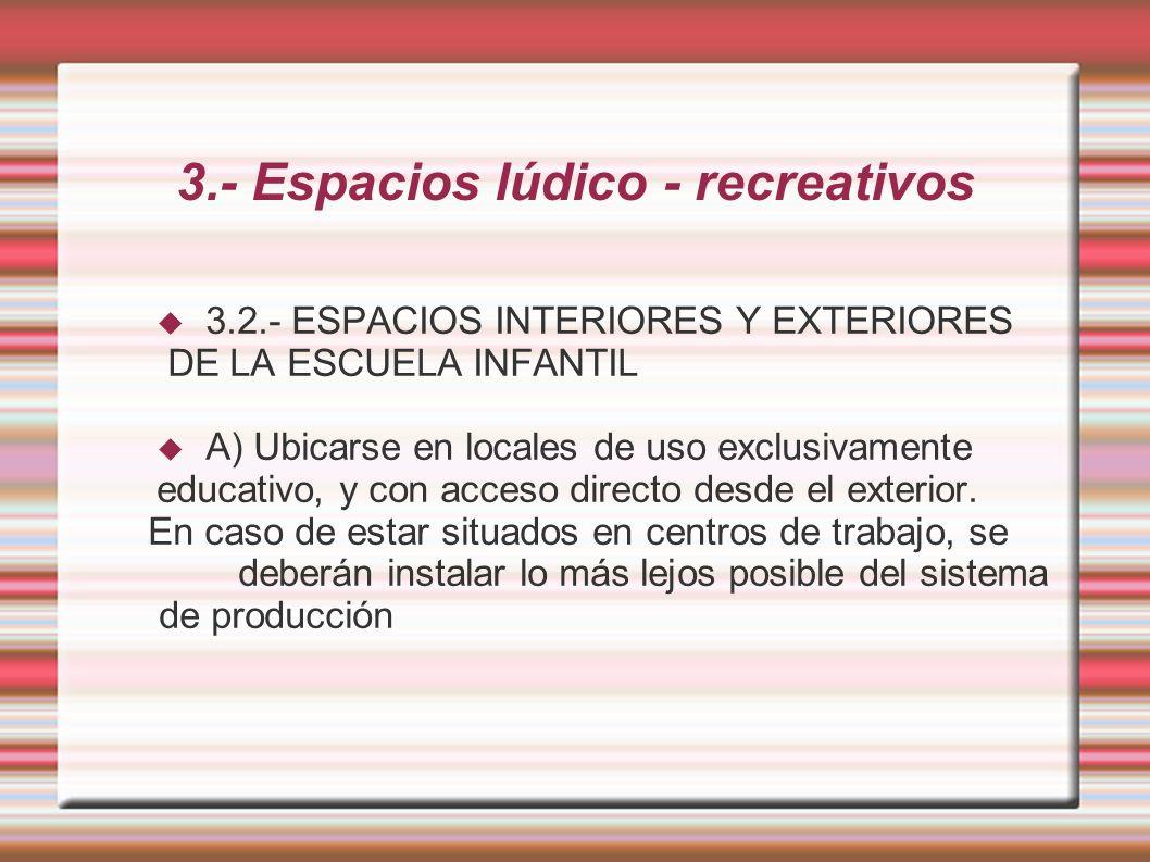 3.- Espacios lúdico - recreativos 3.2.- ESPACIOS INTERIORES Y EXTERIORES DE LA ESCUELA INFANTIL A) Ubicarse en locales de uso exclusivamente educativo, y con acceso directo desde el exterior.