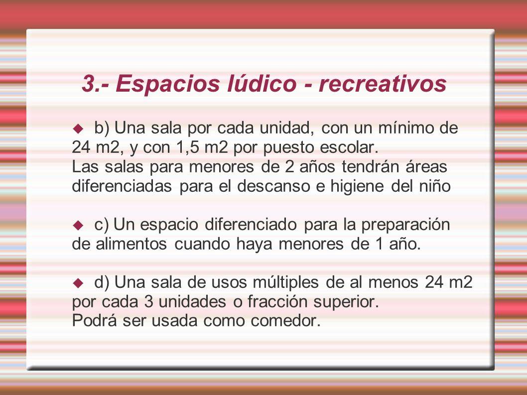 3.- Espacios lúdico - recreativos b) Una sala por cada unidad, con un mínimo de 24 m2, y con 1,5 m2 por puesto escolar.