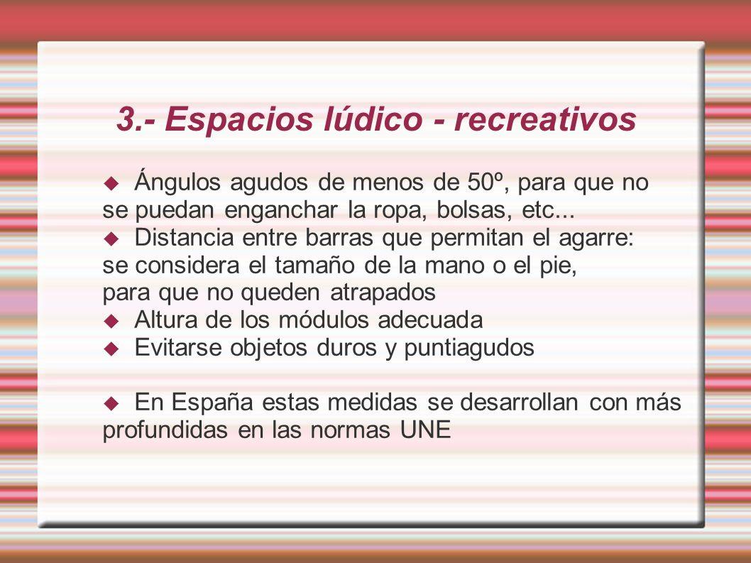 3.- Espacios lúdico - recreativos Ángulos agudos de menos de 50º, para que no se puedan enganchar la ropa, bolsas, etc...