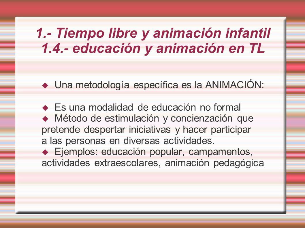 1.- Tiempo libre y animación infantil 1.4.- educación y animación en TL Una metodología específica es la ANIMACIÓN: Es una modalidad de educación no formal Método de estimulación y concienzación que pretende despertar iniciativas y hacer participar a las personas en diversas actividades.