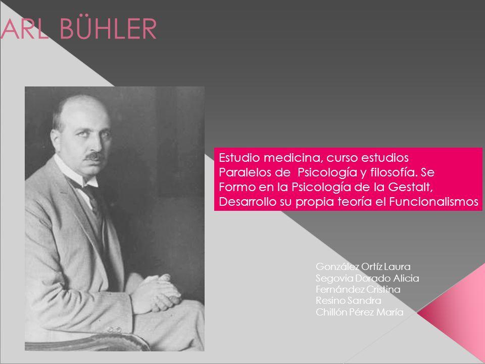 KARL BÜHLER Estudio medicina, curso estudios Paralelos de Psicología y filosofía. Se Formo en la Psicología de la Gestalt, Desarrollo su propia teoría