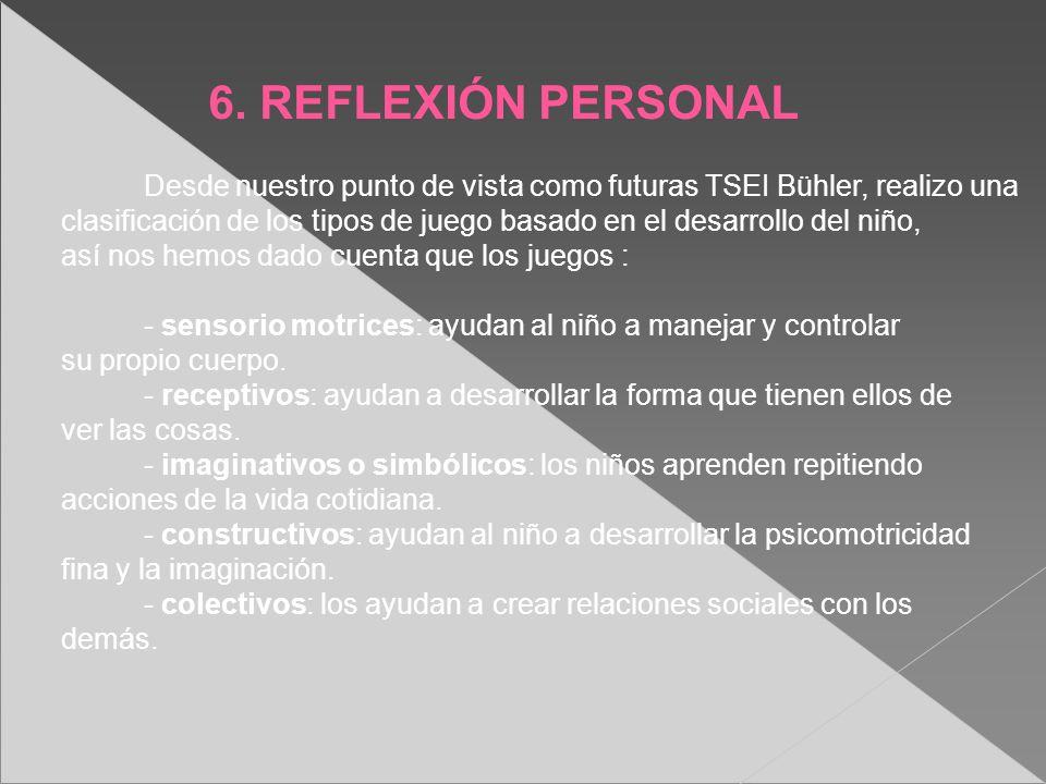 6. REFLEXIÓN PERSONAL Desde nuestro punto de vista como futuras TSEI Bühler, realizo una clasificación de los tipos de juego basado en el desarrollo d
