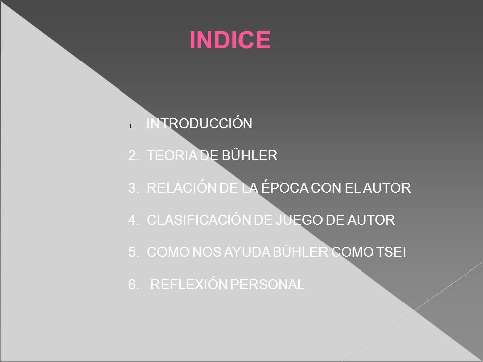 INDICE 1. INTRODUCCIÓN 2. TEORIA DE BÜHLER 3. RELACIÓN DE LA ÉPOCA CON EL AUTOR 4. CLASIFICACIÓN DE JUEGO DE AUTOR 5. COMO NOS AYUDA BÜHLER COMO TSEI