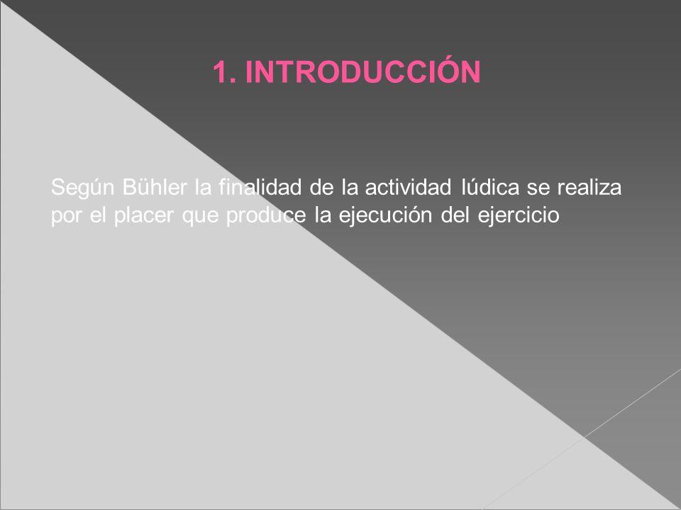 1. INTRODUCCIÓN Según Bühler la finalidad de la actividad lúdica se realiza por el placer que produce la ejecución del ejercicio