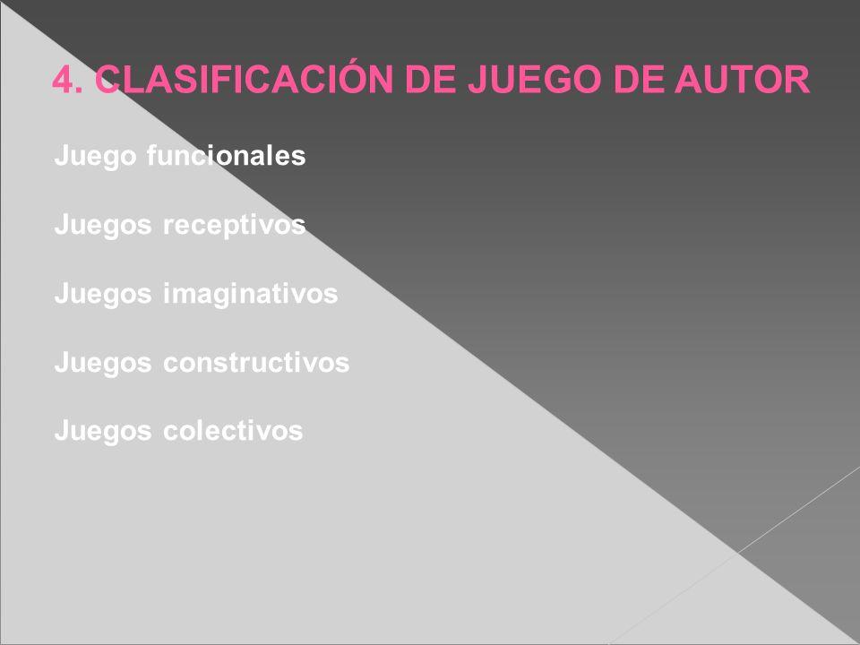 4. CLASIFICACIÓN DE JUEGO DE AUTOR Juego funcionales Juegos receptivos Juegos imaginativos Juegos constructivos Juegos colectivos