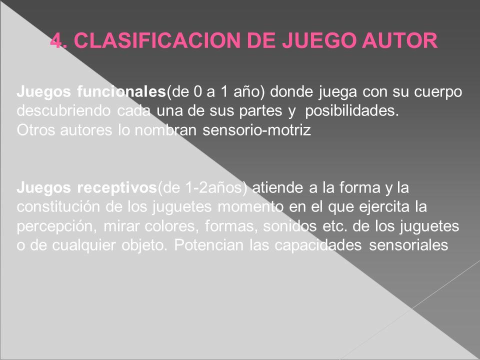 4. CLASIFICACION DE JUEGO AUTOR Juegos funcionales(de 0 a 1 año) donde juega con su cuerpo descubriendo cada una de sus partes y posibilidades. Otros