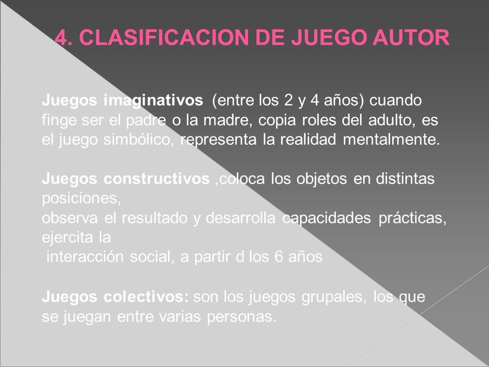 4. CLASIFICACION DE JUEGO AUTOR Juegos imaginativos (entre los 2 y 4 años) cuando finge ser el padre o la madre, copia roles del adulto, es el juego s