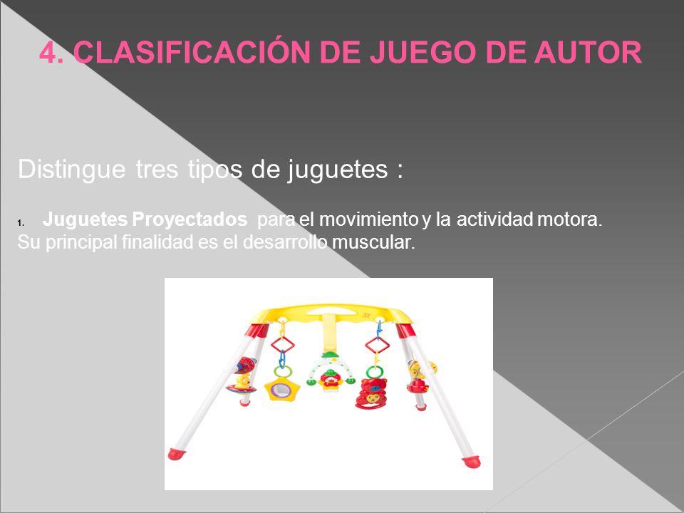 4. CLASIFICACIÓN DE JUEGO DE AUTOR Distingue tres tipos de juguetes : 1. Juguetes Proyectados para el movimiento y la actividad motora. Su principal f