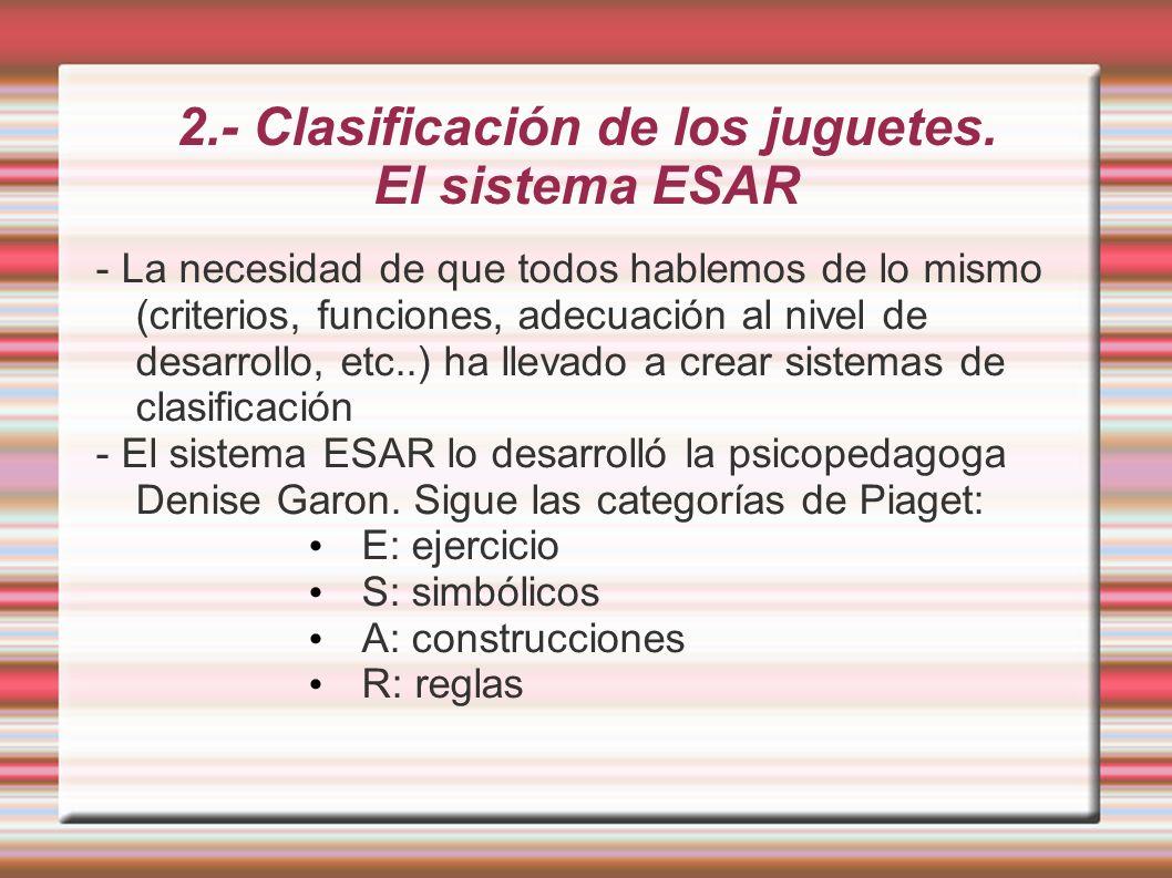 2.- Clasificación de los juguetes. El sistema ESAR - La necesidad de que todos hablemos de lo mismo (criterios, funciones, adecuación al nivel de desa