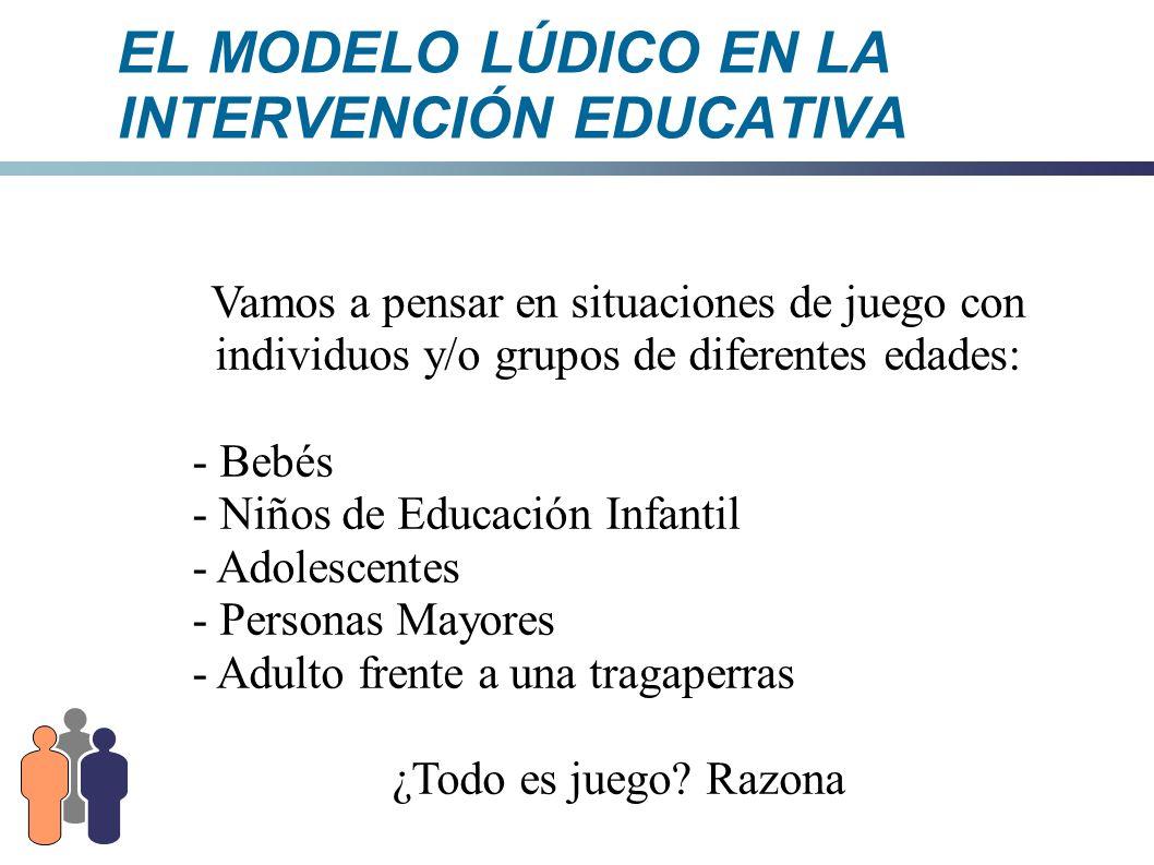 EL MODELO LÚDICO EN LA INTERVENCIÓN EDUCATIVA 2.- CARACTERÍSTICAS DEL JUEGO Es una manifestación que tiene finalidad en si misma, es gratuita, desinteresada e intrascendente.