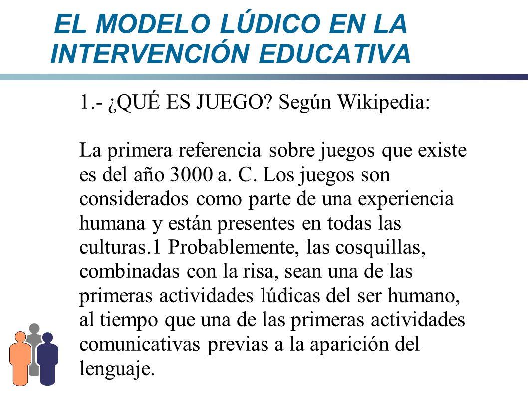 EL MODELO LÚDICO EN LA INTERVENCIÓN EDUCATIVA - ¿Esto qué quiere decir.