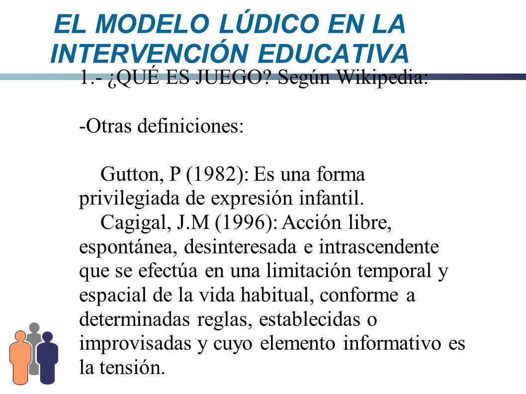 EL MODELO LÚDICO EN LA INTERVENCIÓN EDUCATIVA 8.1.- ELEMENTOS DEL MODELO LÚDICO - ¿Qué es el MODELO LÚDICO.