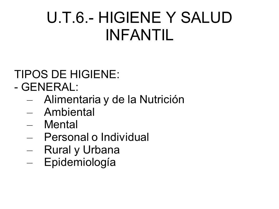 U.T.6.- HIGIENE Y SALUD INFANTIL TIPOS DE HIGIENE: - GENERAL: – Alimentaria y de la Nutrición – Ambiental – Mental – Personal o Individual – Rural y U