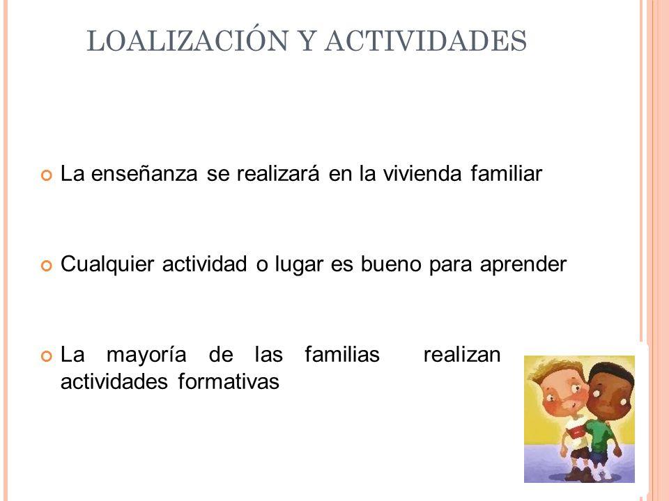 LOALIZACIÓN Y ACTIVIDADES La enseñanza se realizará en la vivienda familiar Cualquier actividad o lugar es bueno para aprender La mayoría de las famil