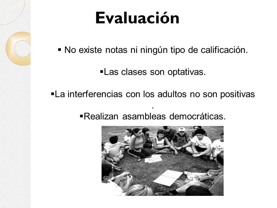 Evaluación No existe notas ni ningún tipo de calificación. Las clases son optativas. La interferencias con los adultos no son positivas. Realizan asam