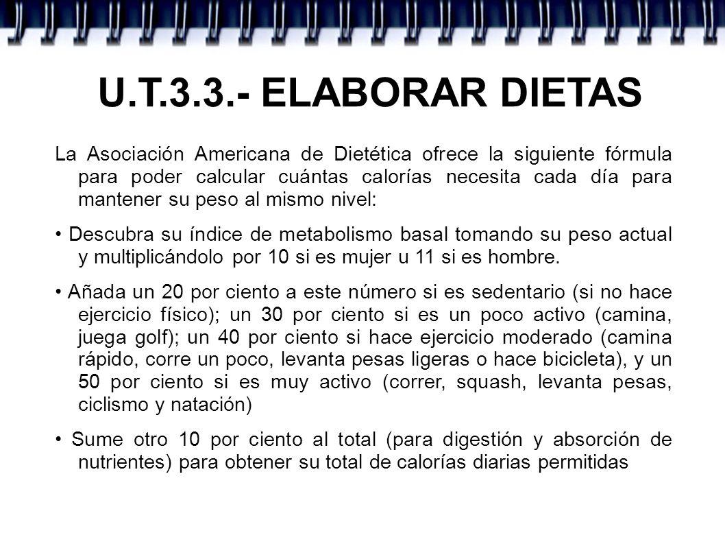 U.T.3.3.- ELABORAR DIETAS La Asociación Americana de Dietética ofrece la siguiente fórmula para poder calcular cuántas calorías necesita cada día para