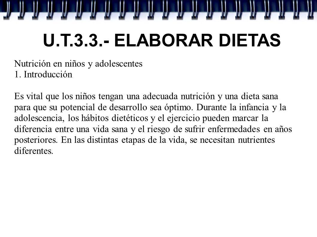U.T.3.3.- ELABORAR DIETAS Nutrición en niños y adolescentes 1. Introducción Es vital que los niños tengan una adecuada nutrición y una dieta sana para