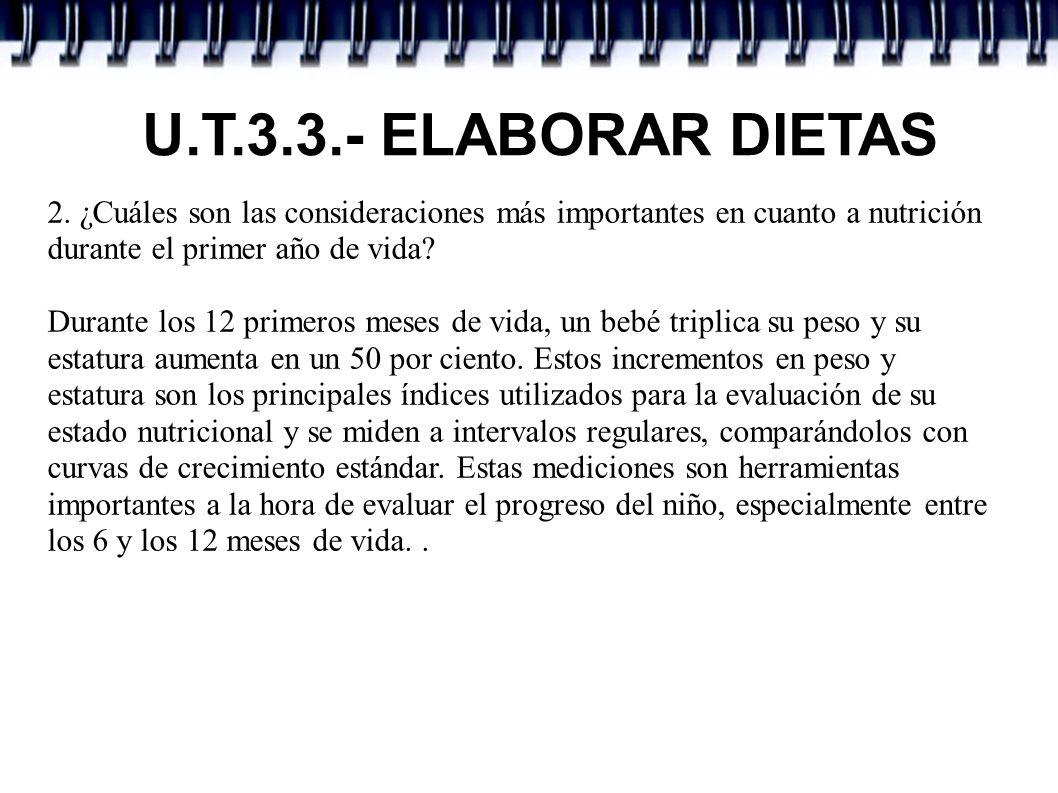 U.T.3.3.- ELABORAR DIETAS 2. ¿Cuáles son las consideraciones más importantes en cuanto a nutrición durante el primer año de vida? Durante los 12 prime