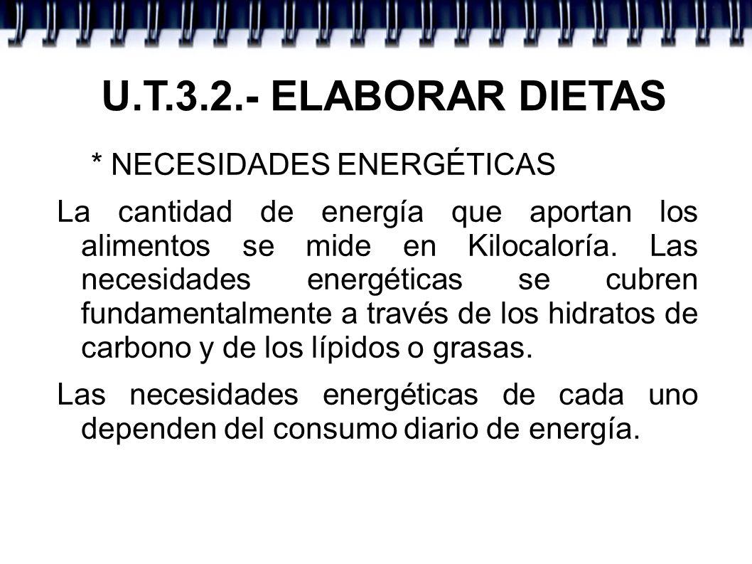 U.T.3.2.- ELABORAR DIETAS * NECESIDADES ENERGÉTICAS La cantidad de energía que aportan los alimentos se mide en Kilocaloría. Las necesidades energétic