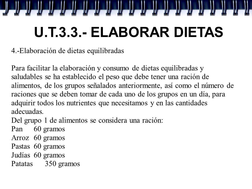 U.T.3.3.- ELABORAR DIETAS Para el grupo 2 de la leche se considera una ración: Leche 1 vaso, 200 cc.
