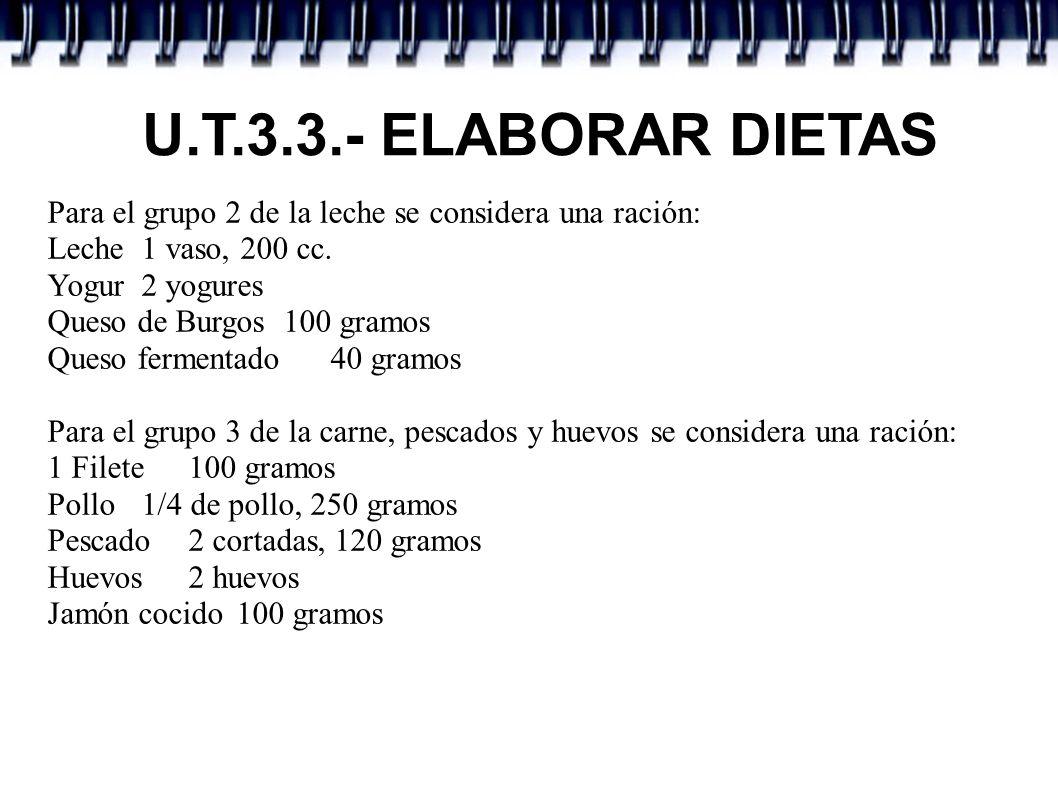 U.T.3.3.- ELABORAR DIETAS Para el grupo 4 de las verduras y hortalizas se considera una ración: Ensalada 200 gramos Judías verdes 100 gramos Zanahoria 100 gramos Para el grupo 5 de la fruta se considera una ración, una pieza de fruta o grupo de frutos pequeños o porción de fruto grande de 130 gramos.
