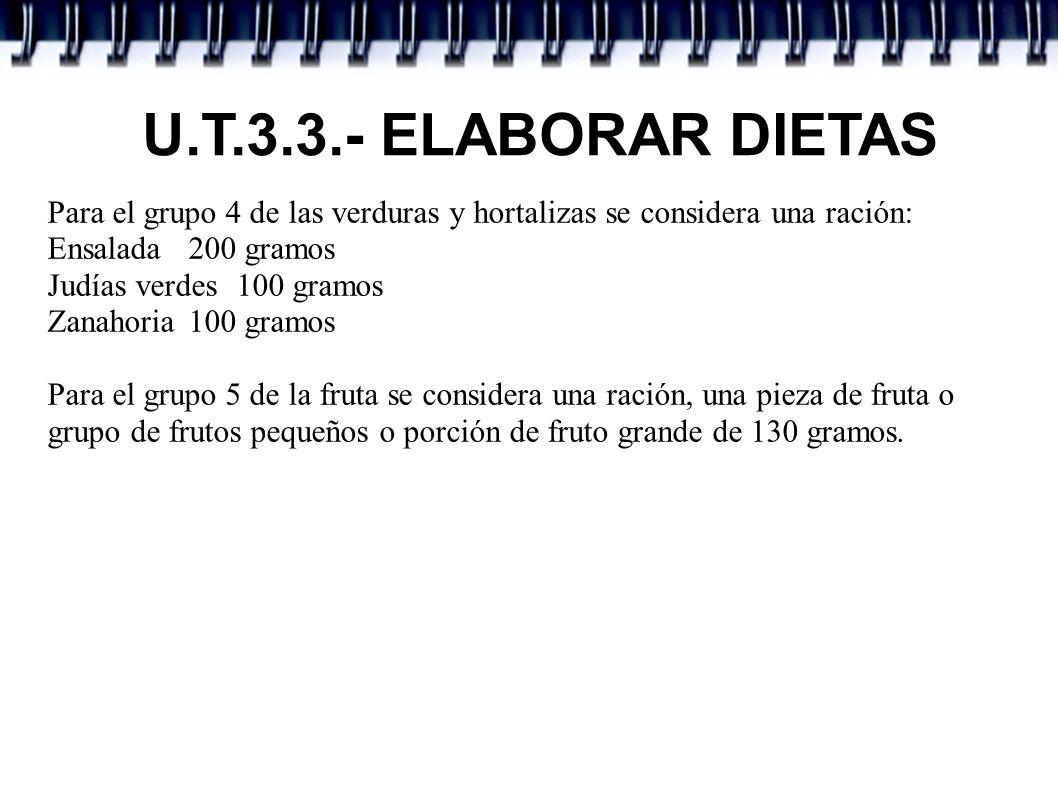 U.T.3.3.- ELABORAR DIETAS Para el grupo 4 de las verduras y hortalizas se considera una ración: Ensalada 200 gramos Judías verdes 100 gramos Zanahoria