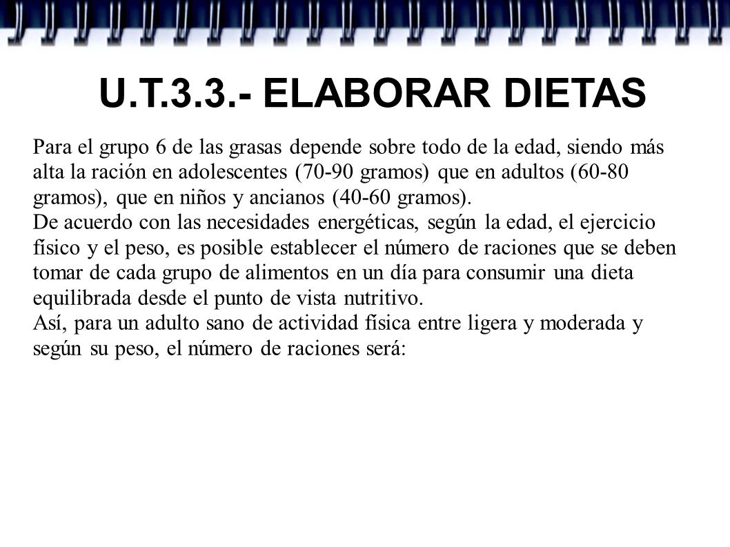 U.T.3.3.- ELABORAR DIETAS