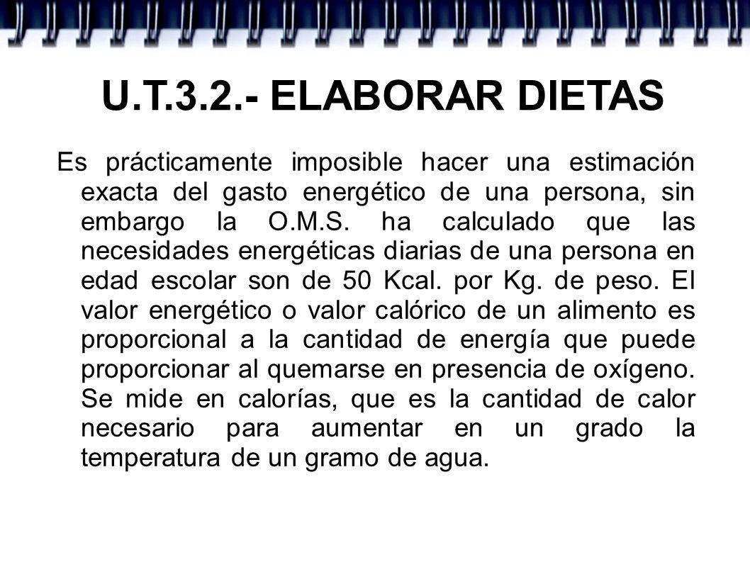 U.T.3.2.- ELABORAR DIETAS Como su valor resulta muy pequeño, en dietética se toma como medida la kilocaloría (1Kcal = 1000 calorías).
