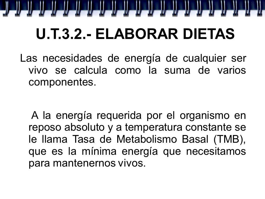 U.T.3.2.- ELABORAR DIETAS Las necesidades de energía de cualquier ser vivo se calcula como la suma de varios componentes. A la energía requerida por e