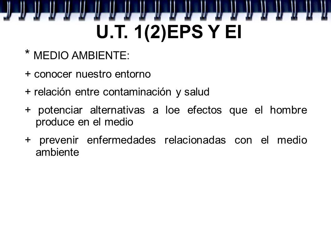 U.T. 1(2)EPS Y EI * MEDIO AMBIENTE: + conocer nuestro entorno + relación entre contaminación y salud + potenciar alternativas a loe efectos que el hom