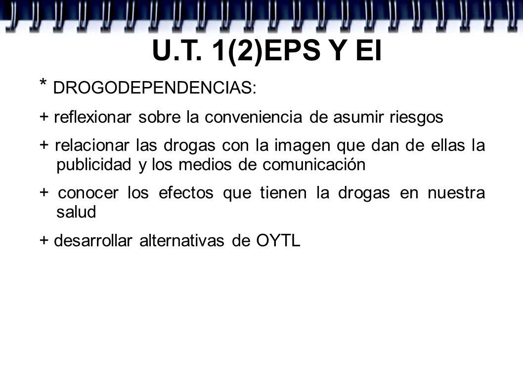 U.T. 1(2)EPS Y EI * DROGODEPENDENCIAS: + reflexionar sobre la conveniencia de asumir riesgos + relacionar las drogas con la imagen que dan de ellas la