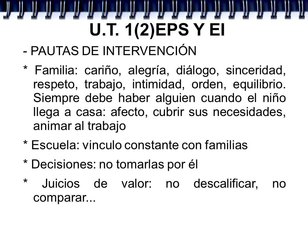U.T. 1(2)EPS Y EI - PAUTAS DE INTERVENCIÓN * Familia: cariño, alegría, diálogo, sinceridad, respeto, trabajo, intimidad, orden, equilibrio. Siempre de
